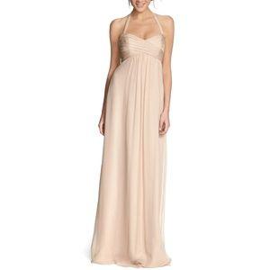 AMSALE chiffon halter gown prom bridesmaid dress